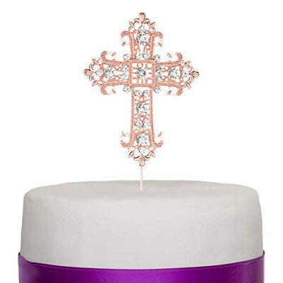 Cross Cake Topper - Elegant Rose Gold