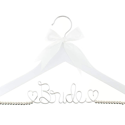 Bride Wedding Dress Hanger - White with Silver Beads