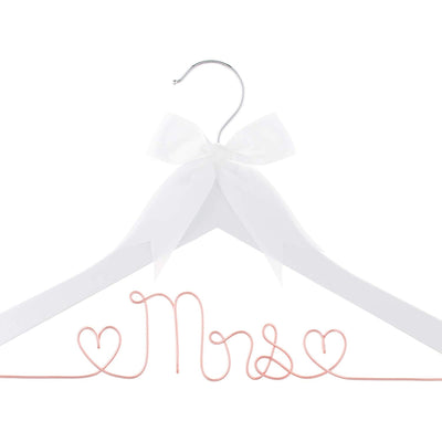 Mrs Wedding Dress Hanger - White with Rose Gold Wire