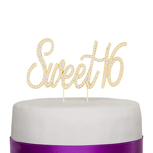 Sweet 16 Cake Topper - Gold Words