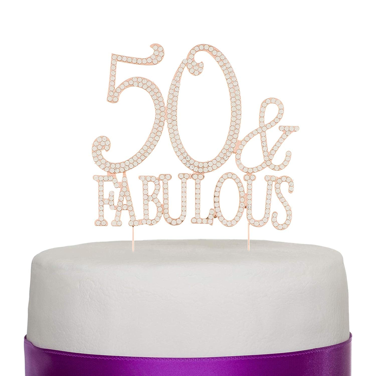 50 & Fabulous Cake Topper - Rose Gold