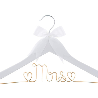 Mrs Wedding Dress Hanger - White with Light Gold Wire