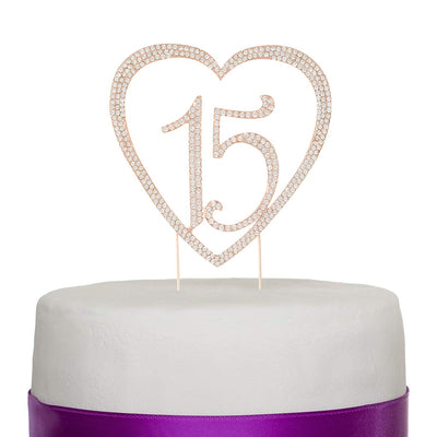 15 Heart Cake Topper - Rose Gold