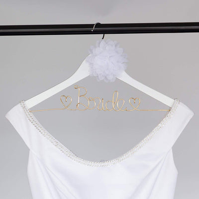 Bride Wedding Dress Hanger - White with Light Gold