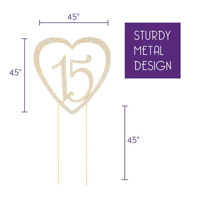 15 Heart Cake Topper - Gold