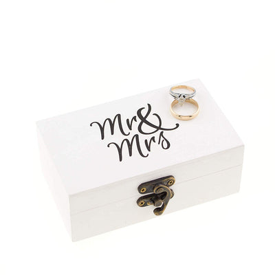 Mr & Mrs Ring Box - White & Black