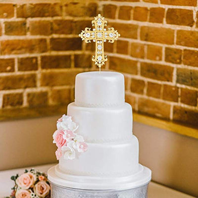 Cross Cake Topper - Elegant Gold