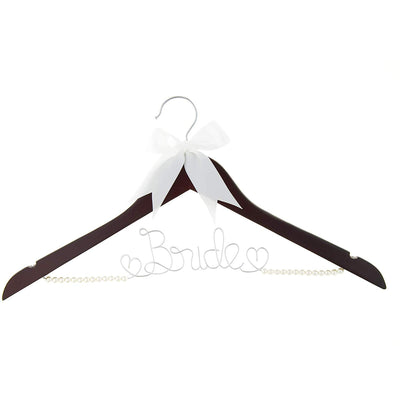 Bride Wedding Dress Hanger - Mahogany with Pearls