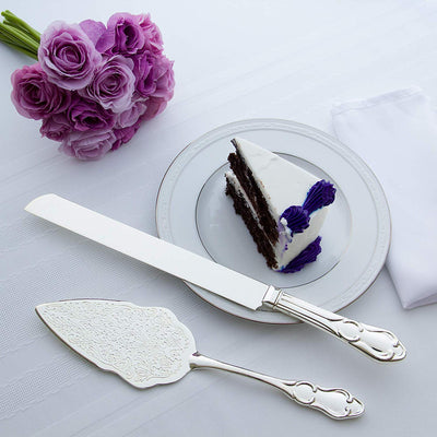 Wedding Cake Knife & Server Set - Elegant Silver
