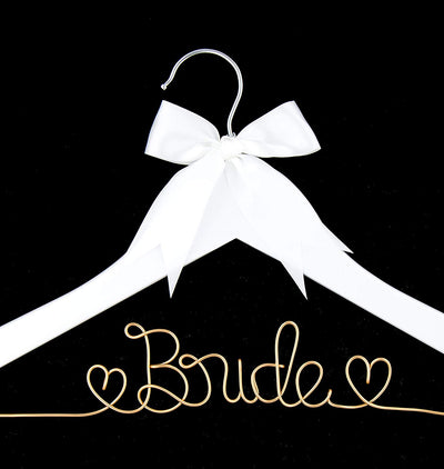 Bride Wedding Dress Hanger - White with Light Gold Wire