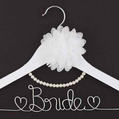 Bride Wedding Dress Hanger - White with Silver, Flower and Pearls