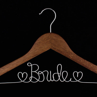 Bride Wedding Dress Hanger - Antique Brown with Silver Wire