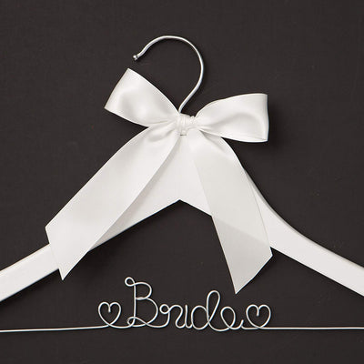 Bride Wedding Dress Hanger - White with Silver