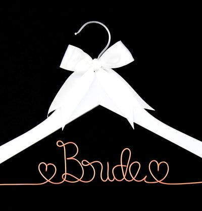 Bride to Be Wedding Dress Hanger (White with Rose Gold Wire)