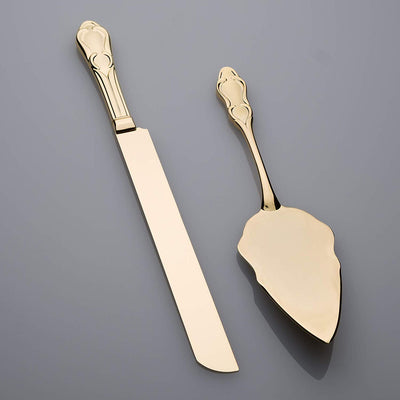 Wedding Cake Knife & Server Set - Engravable Elegant Light Gold