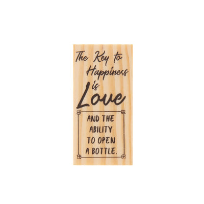 Wooden Rubber Stamp - Key to Happiness