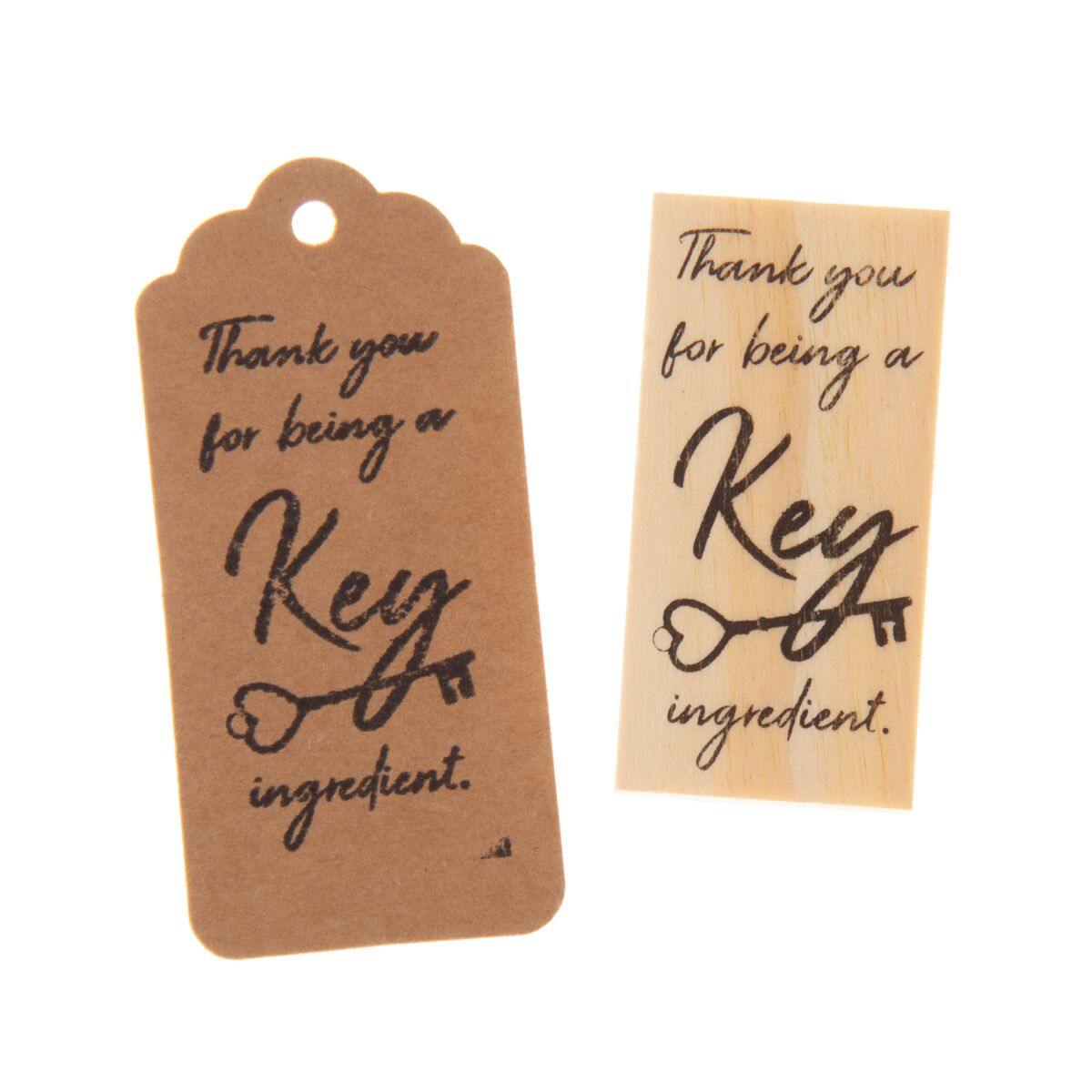 Wooden Rubber Stamp - Key Ingredient