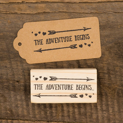 Wooden Rubber Stamp - The Adventure Begins