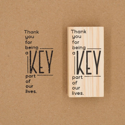 Wooden Rubber Stamp - Thank You Modern
