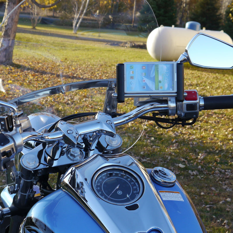 eCaddy Slide Phone & GPS Mount (Horizontal) - Mirror Stem, Chrome