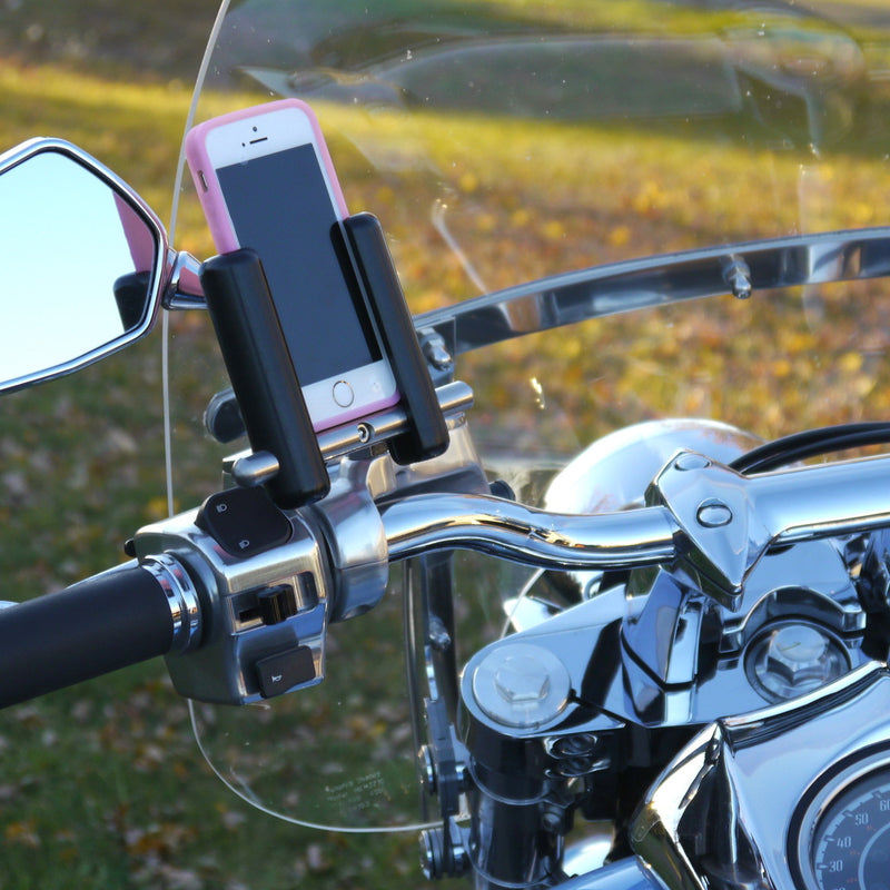eCaddy Slide Phone Mount (Vertical) - Mirror Stem, Chrome