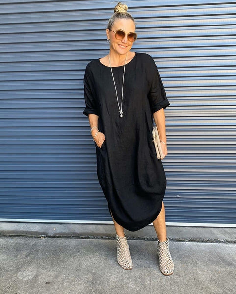 Scalloped Linen Dress