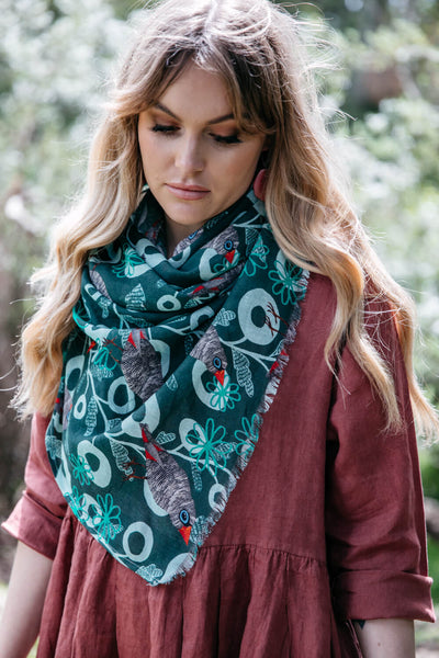 NEW Organic Cotton Square Scarf - Firetail Forest
