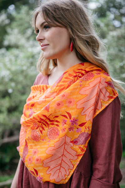 NEW Organic Cotton Square Scarf - Summer Garden