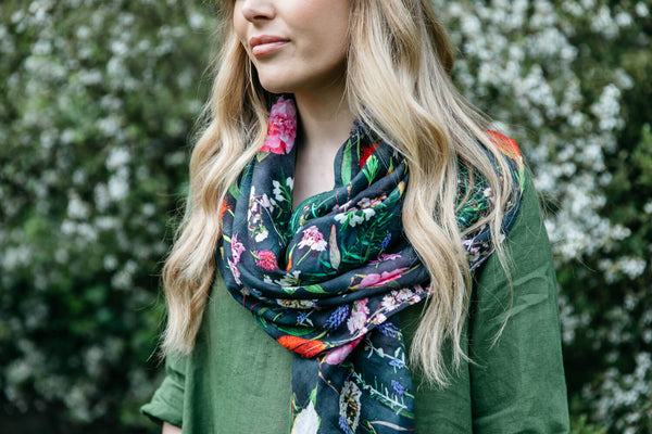NEW Organic Cotton Square Scarf - Botanical