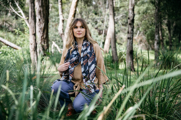 NEW Organic Cotton Square Scarf - Kookaburra Feather