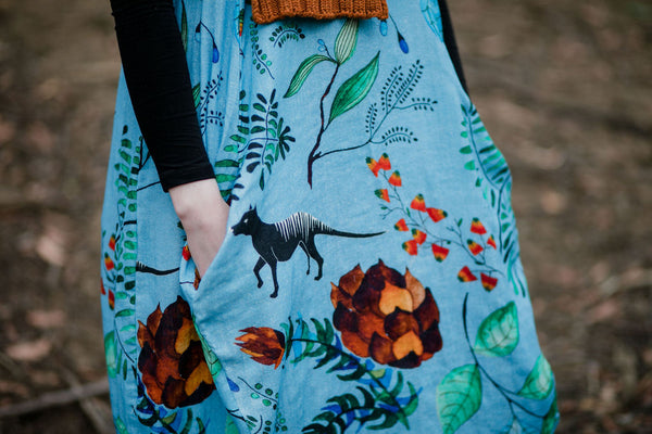 Organic Cocoon Dress- Thylacine Forest