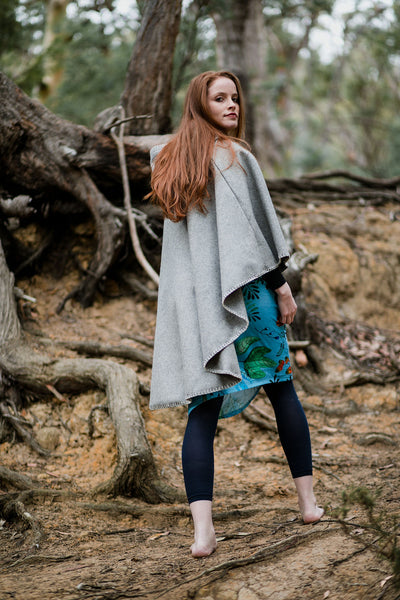 Hooded Organic Wool Cape - Heather Grey