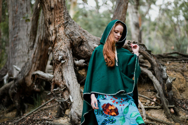 Hooded Organic Wool Cape - Forest Green