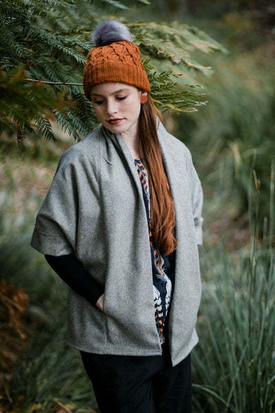 Cocoon Organic Wool Coat- Heather Grey