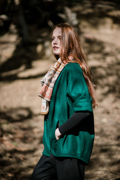 Cocoon Organic Wool Coat- Forest