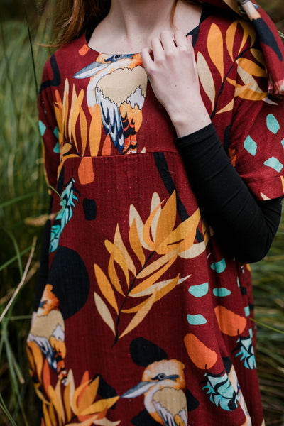 Organic Cocoon Dress- Kookaburra