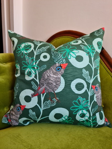 Firetail Forest Printed Linen Cushions