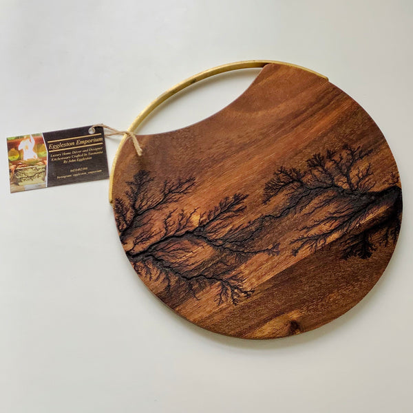 Fractal Timber Serving Board with Brass Handle