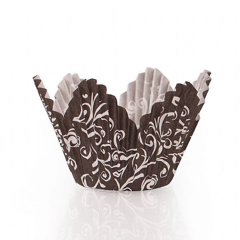 Simcha Petal Paper Baking Cups Black Large/Case of 720