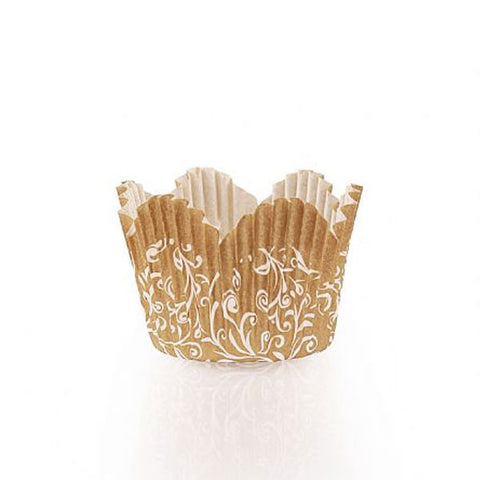 Simcha Petal Paper Baking Cups Gold Mini/Case of 720