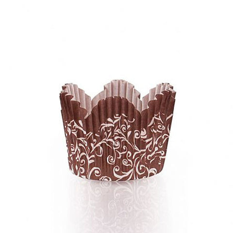 Simcha Petal Paper Baking Cups Brown Mini/Case of 720