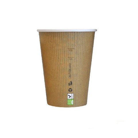 Eco Friendly 12 Oz. Kraft Rigid Outside Paper Cup/Case of 1000
