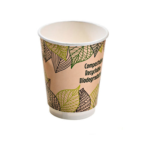 Eco Friendly 12 Oz. Leaf Design Double Wall Paper Cup/Case of 500