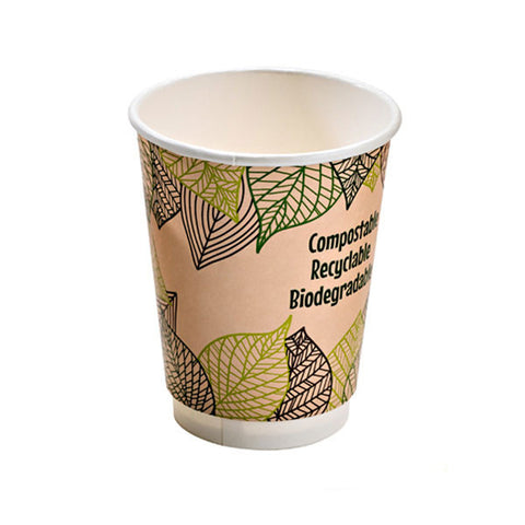 Eco Friendly 16 Oz. Leaf Design Double Wall Paper Cup/Case of 500