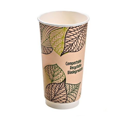 Eco Friendly 20 Oz. Leaf Design Double Wall Paper Cup/Case of 500