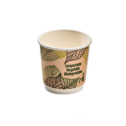 Eco Friendly 4 Oz. Leaf Design Double Wall Expresso Paper Cup/Case of 1000