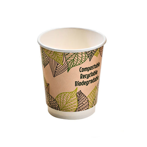 Eco Friendly 8 Oz. Leaf Design Double Wall Paper Cup/Case of 1000