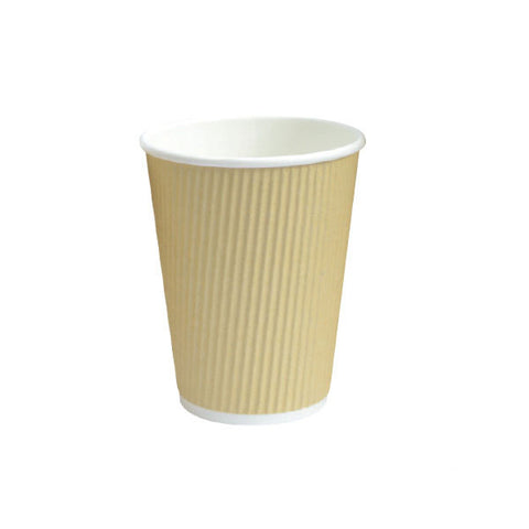 Eco Friendly 12 Oz. 3.5T x 4.25H Beige Rippled Outside Paper Cup/Case of 500