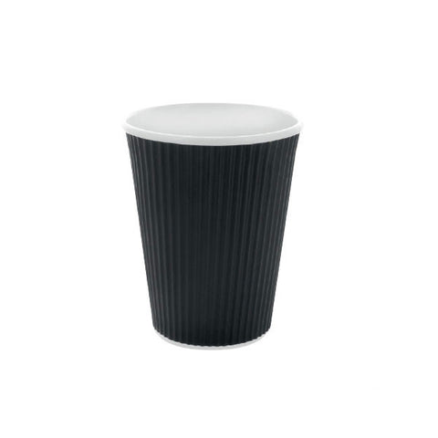 Eco Friendly 12 Oz. Black Rippled Outside Paper Cup/Case of 500