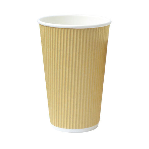 Eco Friendly 16 Oz. 3.5T x 5.4H Beige Rippled Outside Paper Cup/Case of 500